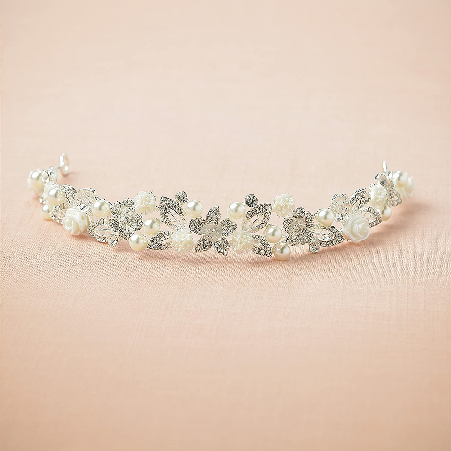 New awei crystal tiara wedding headband pearl flower crown headband new awei crystal tiara wedding headband pearl flower crown headband women hair headpiece izmirmasajfo