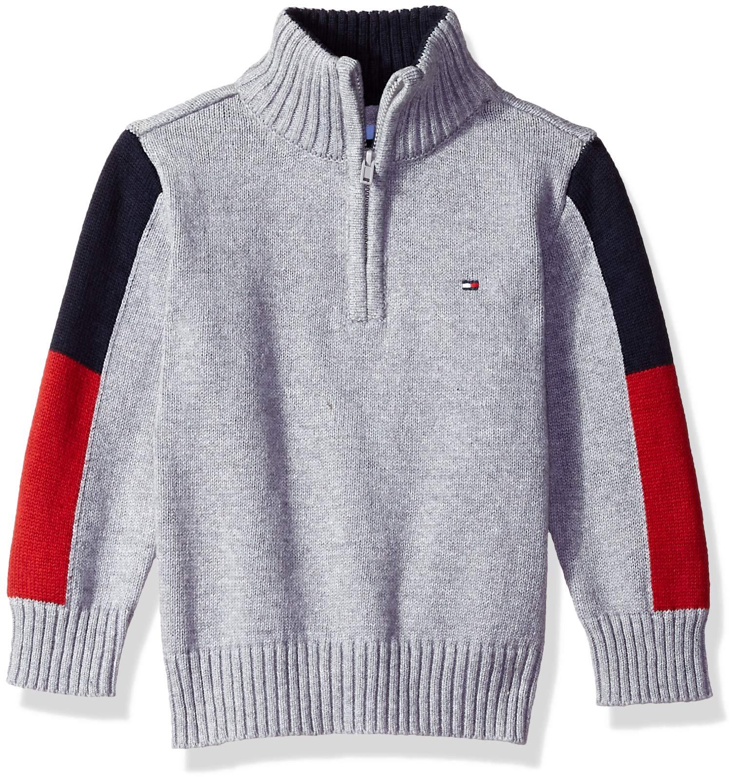 Tommy Hilfiger Toddler Boys' Long Sleeve Half Zip Pullover Sweater, Eddie Grey Heather 3T