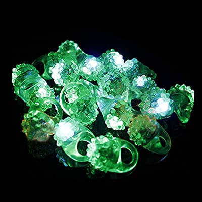 Fun Central 24 Pack - LED Flashing Jelly Bumpy Rings - Blinky Rings Party Favors for St. Patrick's Day: Toys & Games