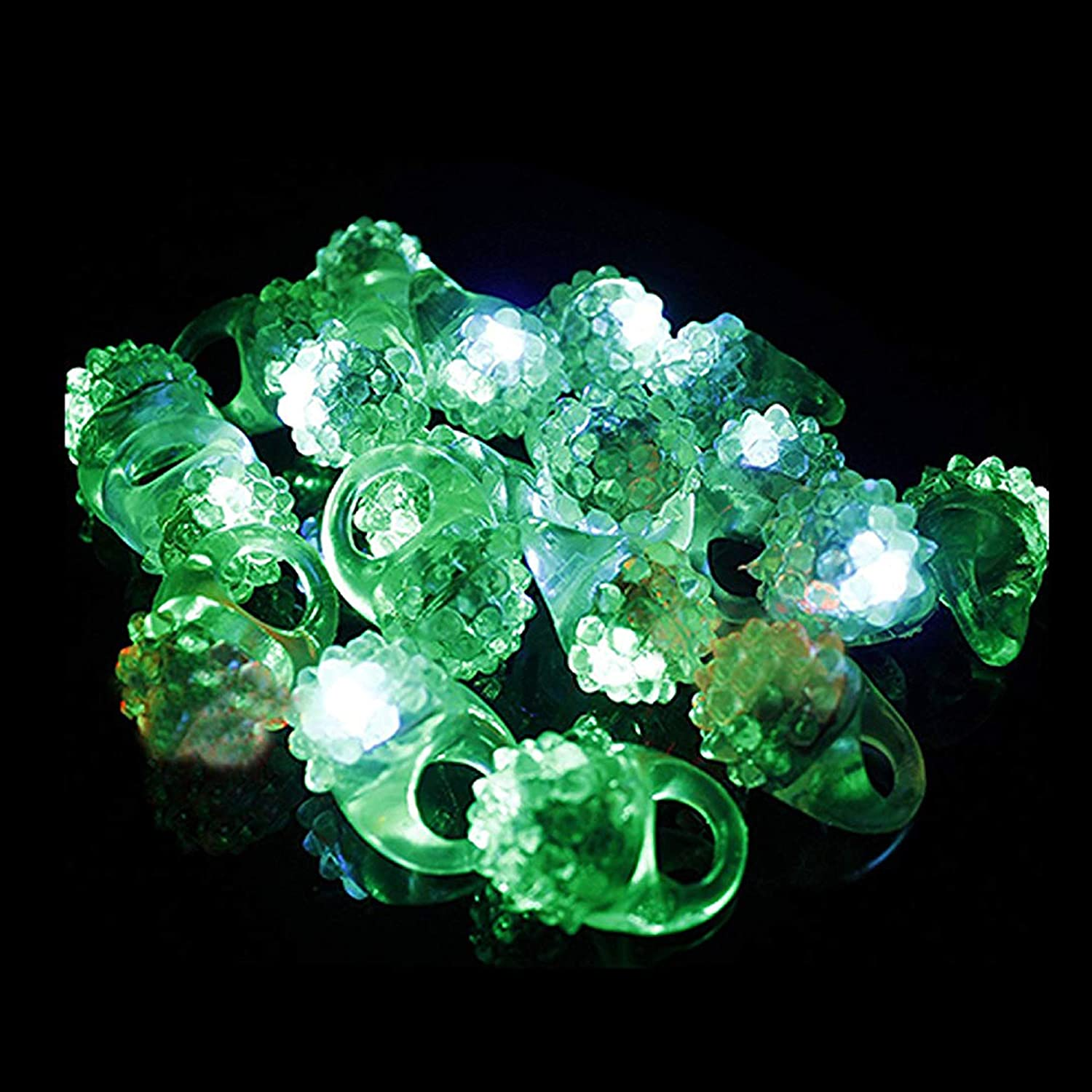 Fun Central AJ291 24 Count LED Jelly Green Bumpy Rings Green Glow Rings Flashing Rings Jelly Rings Led Rings Glow in the Dark Rings Flashing Led Bumpy Rings Green