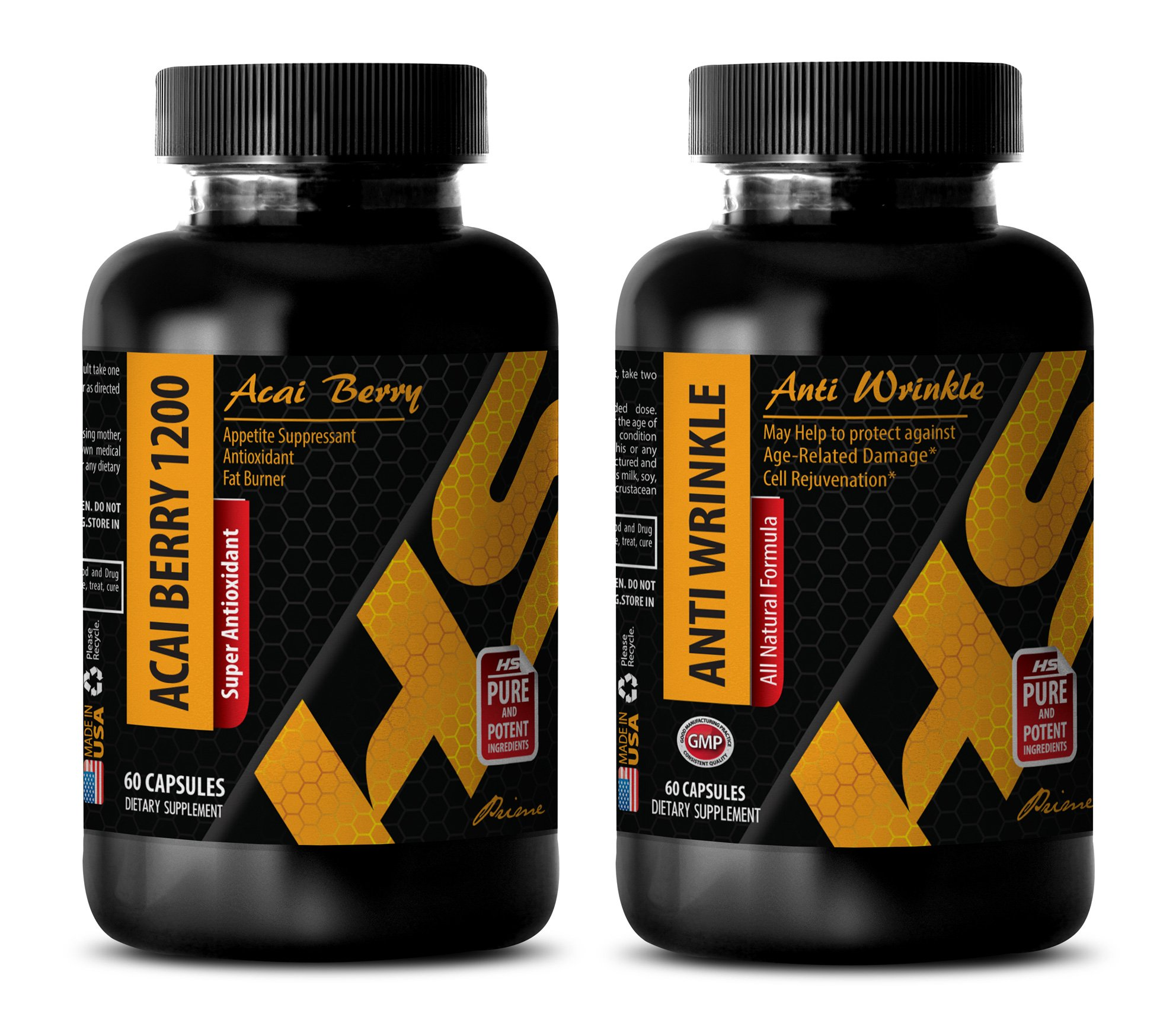 antiaging capsules - ACAI BERRY 1200 – ANTI WRINKLE - COMBO - coenzyme coq10 - 2 Bottles, (60+60 Capsules)
