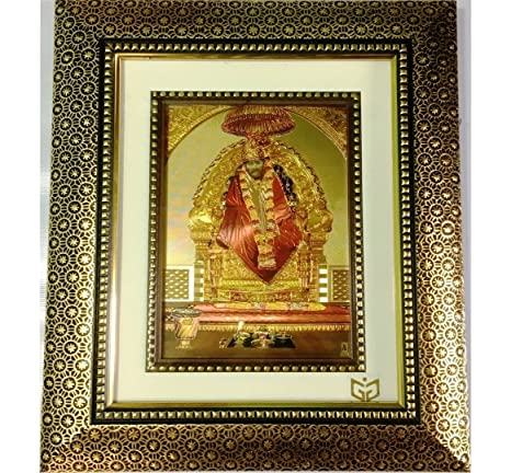 5d76aa3a911 Buy Gem Gold India Wall Mounted 24kt Gold-plated Photo of Sai Baba in Antique  Frame (30 x 24 cm) Online at Low Prices in India - Amazon.in
