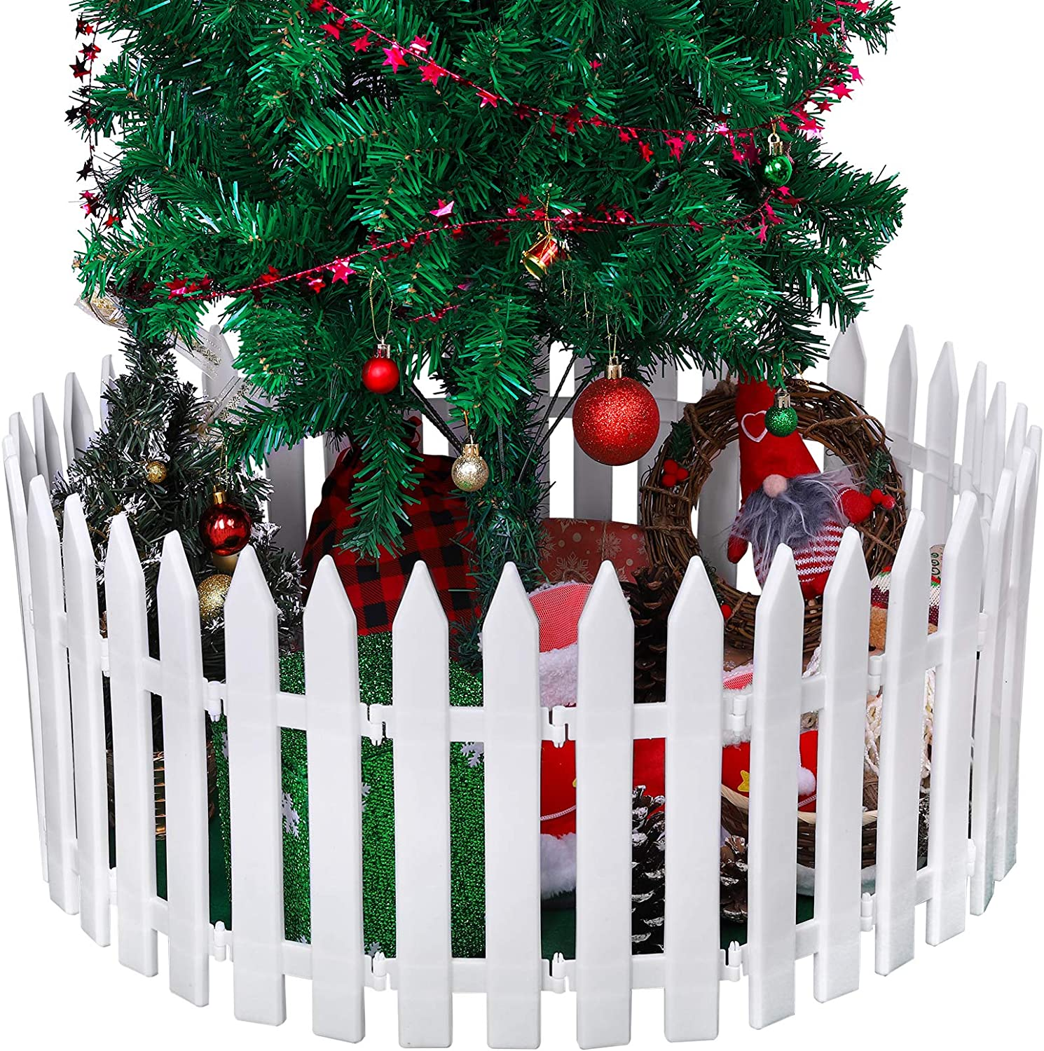 URATOT 30 Pieces Thick White Plastic Picket Fence Christmas Tree Fences Mini Fence Decoration for Christmas Wedding Party Garden Home, 12 Inches