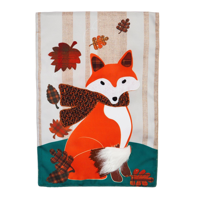 Evergreen Autumn Fox Outdoor Safe Double-Sided Linen Garden Flag, 12.5 x 18 inches