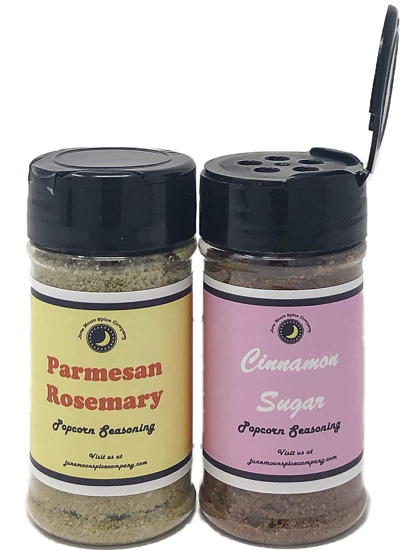 Premium | POPCORN SEASONING | Variety 2 Pack | Cinnamon Sugar Popcorn Seasoning | Parmesan Rosemary Popcorn Seasoning | 3.5 fl. oz. | Calorie Free
