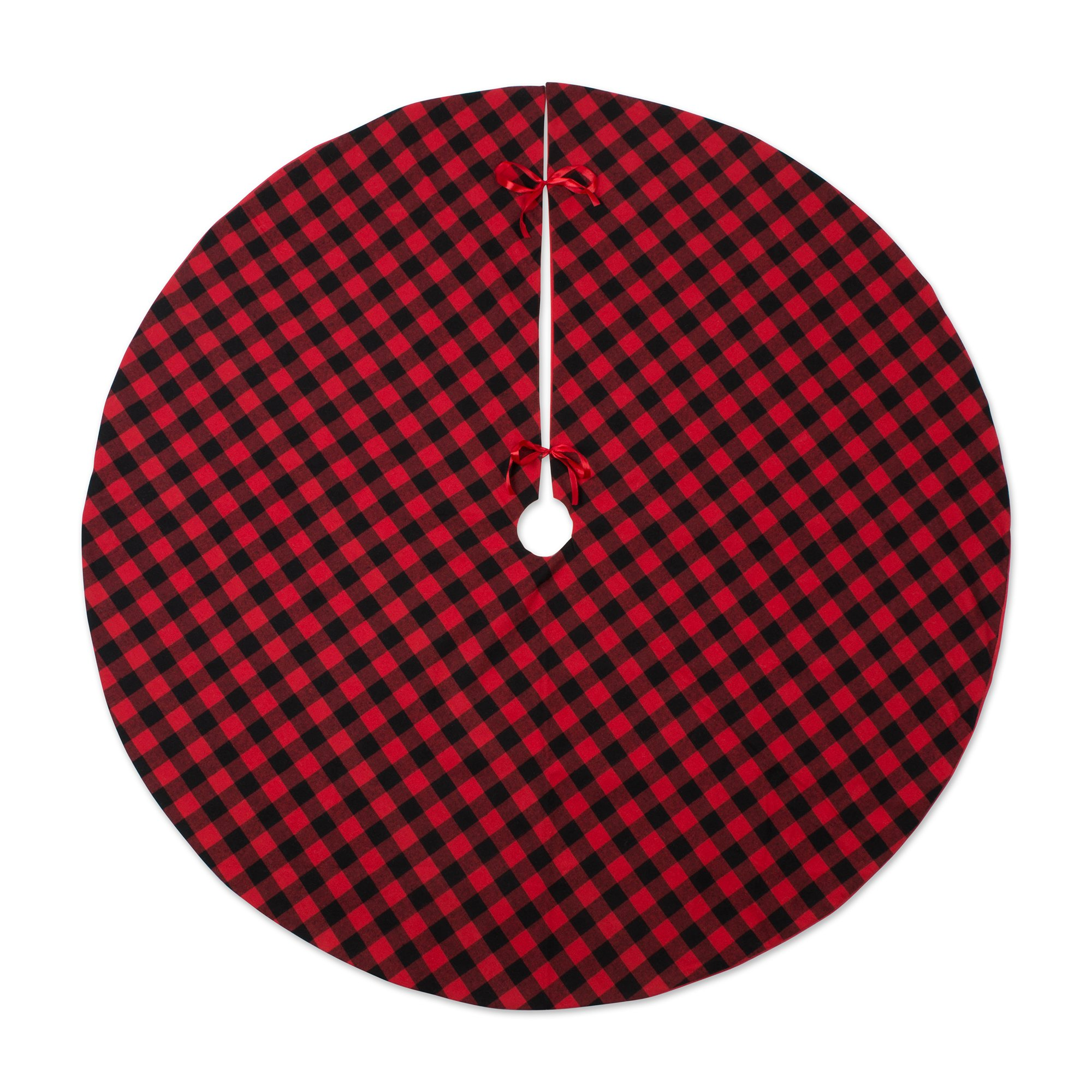 DII CAMZ10924 Plaid Tartan Tree Skirt 48'' Round for Festive Christmas Décor and Holiday Parties, Red and Black Buffalo Check