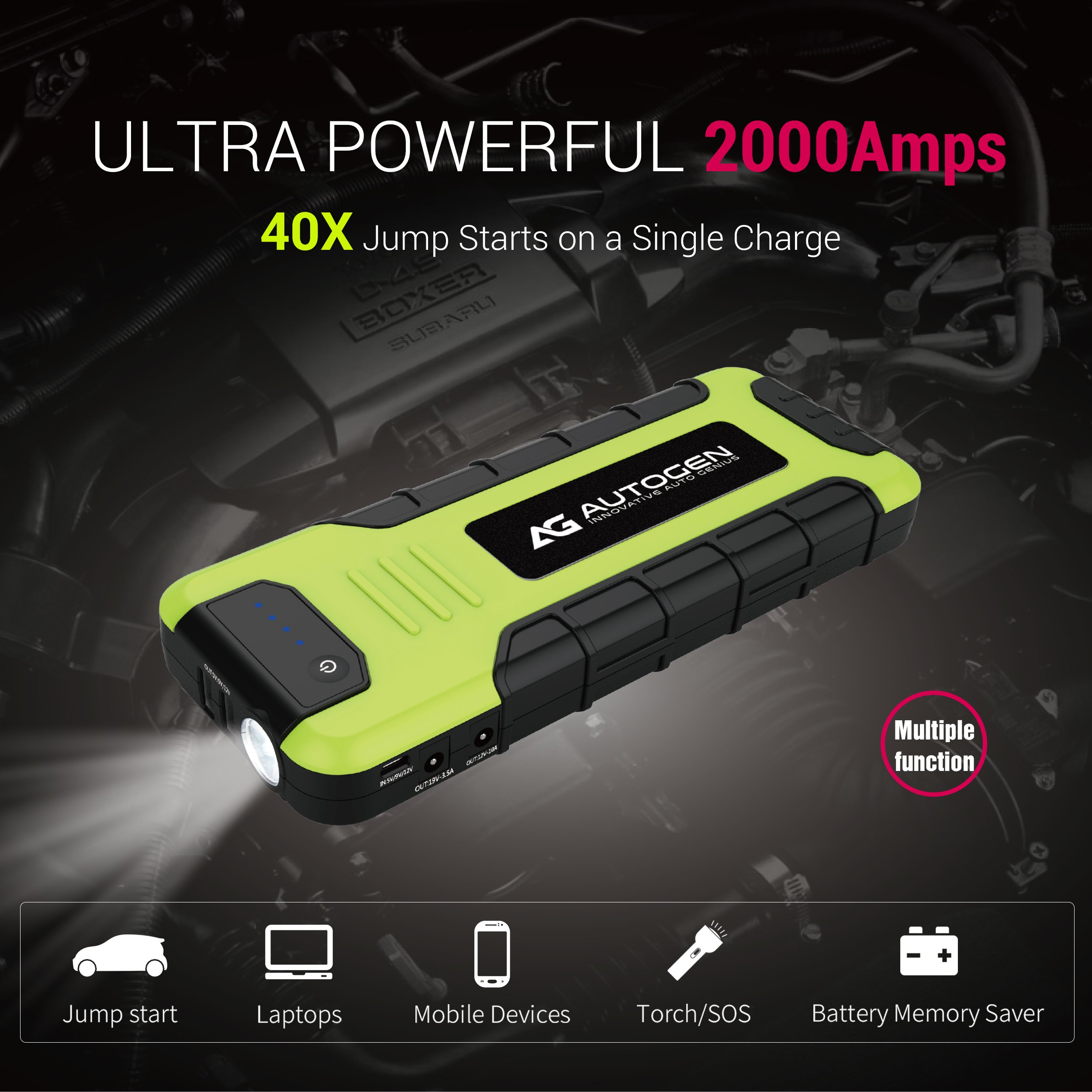 AUTOGEN 2000A Peak Portable Jump Starter for Vehicles (up to 8.0L Gas or 6.5L Diesel) & Quick Charge 3.0 Power Charger, with Mistake-Proof Intelligent Clamps for Cars Boats RVs & Mowers by AUTOGEN (Image #2)
