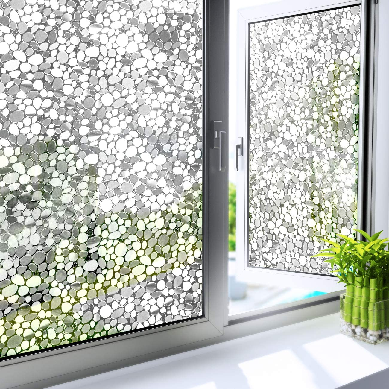 YENHOME Static Window Cling Frosted Glass Film Window Sticker Privacy Window Film No Glue Decorative Window Decals for Home Living Room Door Window Coverings Anti UV Heat Blocking 17.7