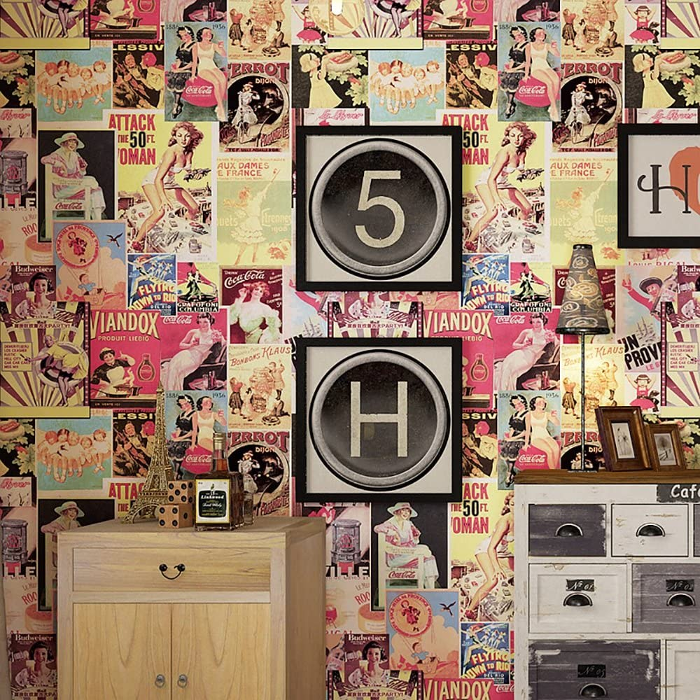 Amazon Co Jp 3d壁紙アメリカンレトロヴィンテージガールの壁紙ロフトインダストリアルスタイルの美容ポスター3つを無料で購入 Color ホーム キッチン