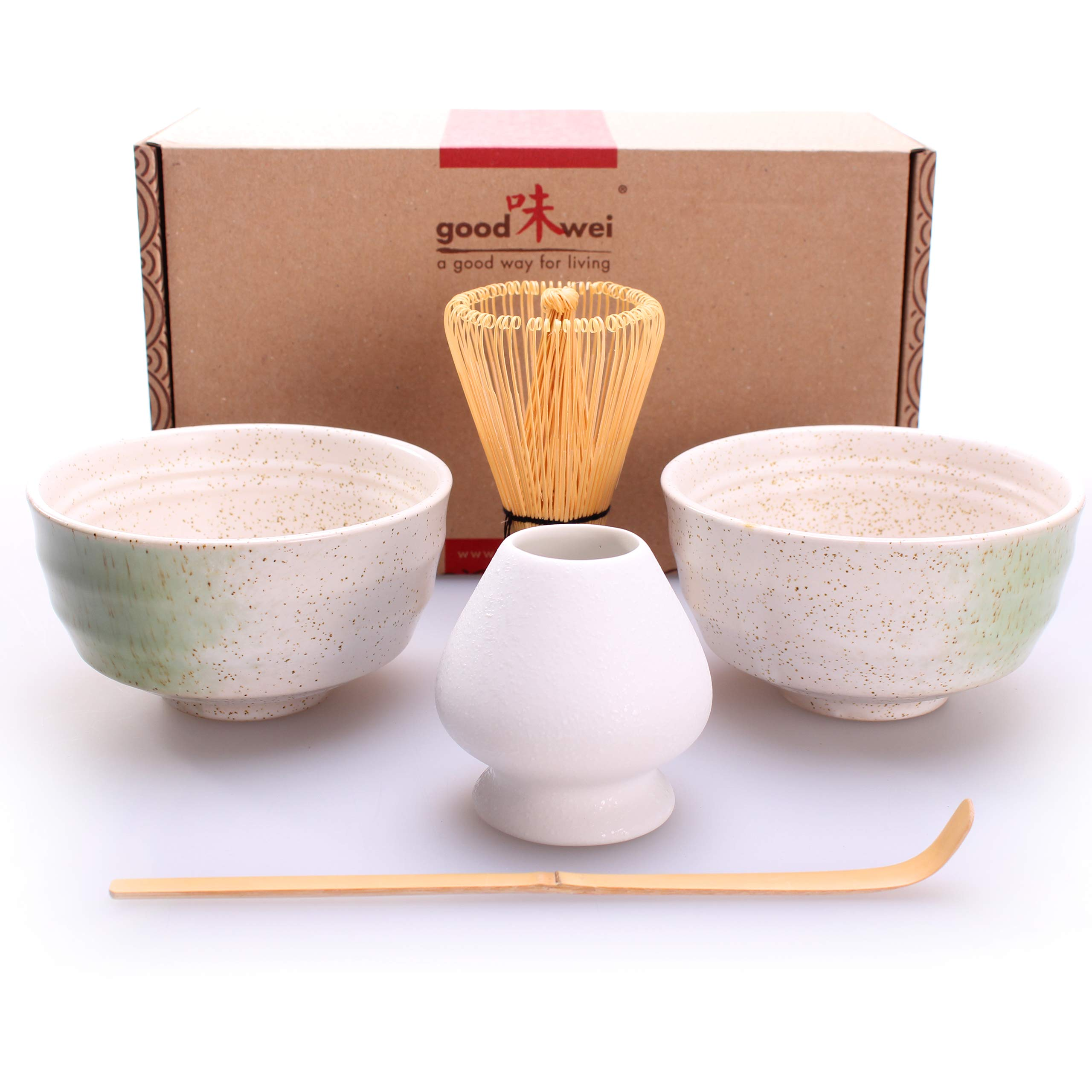 Goodwei Japanese Matcha Tea Ceremony Duo-Set for Two with Chasentate (White)