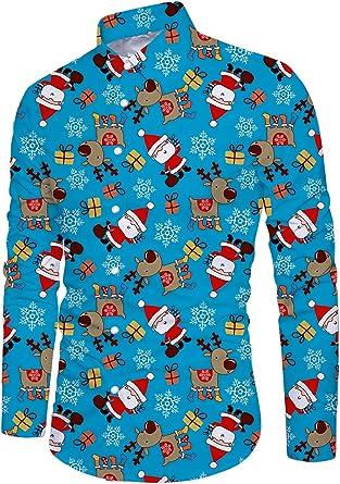 Funnycokid Adolescentes Chicos Navidad Ugly Christmas Camisas Impreso con Botón Hipster Fiesta Estilo Hombres Vestido Casual Ugly Christmas Camisa