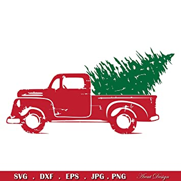 Old Truck With Christmas Tree.Amazon Com Pene Old Truck Tree Retro Vintage Decal