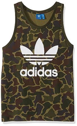 16ed61d25926f adidas Mens Originals Men s Graphic Trefoil Tank Sleeveless Tank Top Cami  Shirt - Green -
