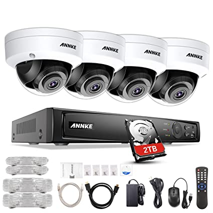 ANNKE 8CH Home Security Camera System H 265 8 Channel 4K PoE NVR w/ 2TB HDD  + (4) 8MP 100ft Night Vision Weatherproof PoE IP Dome Cameras,