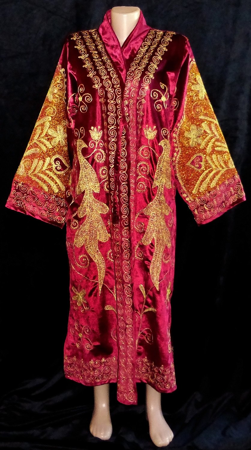 TRADITIONAL BUKHARA OUTWEAR COSTUME ROBE JACKET SILK GOLD EMBROIDERED A11726