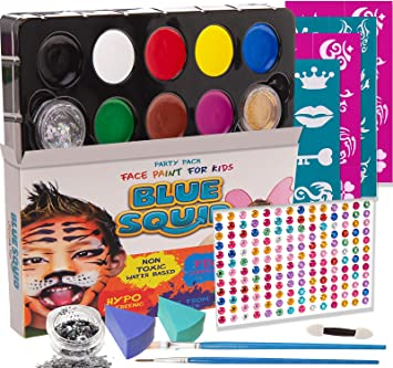 Blue Squid Face Paint For Kids 193 Pieces 8 Color 30 Stencils Brushes Gems Sponges Applicator Best Value Quality Party Pack For Kids Safe
