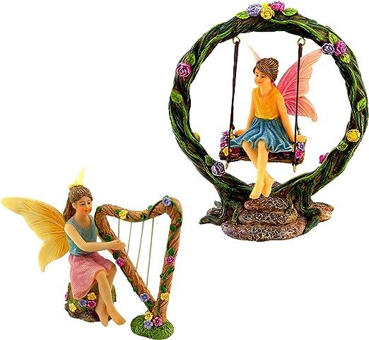 PRETMANNS - Juego de 2 figuras de hadas en miniatura y columpio para jardín de hadas (4 piezas): Amazon.es: Hogar
