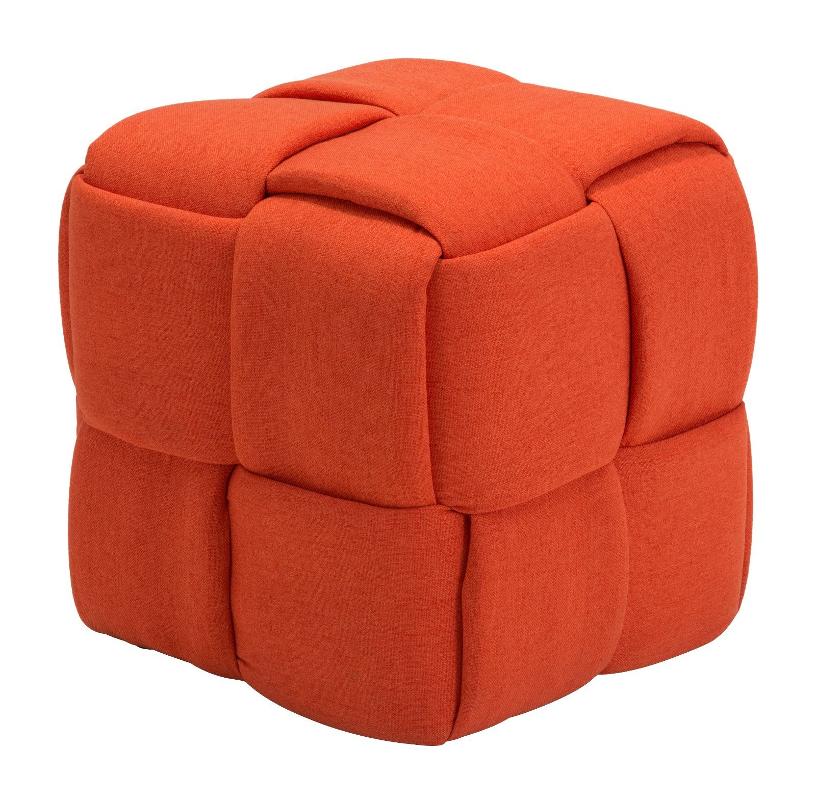 Modern Contemporary Urban Design Living Lounge Room Stool Pouf, Orange, Fabric