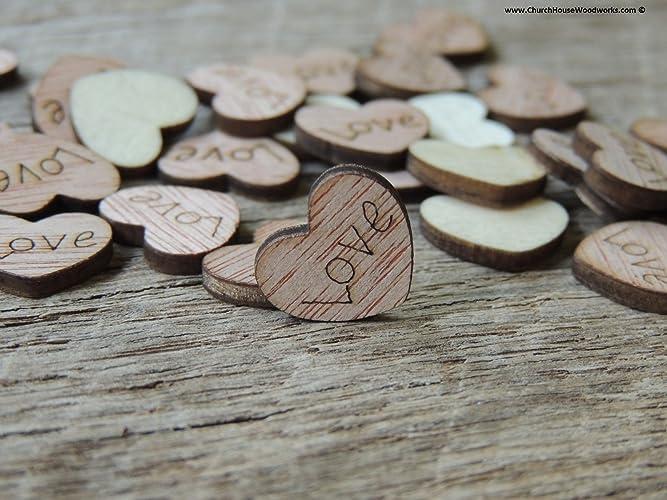 amazon com 100 tiny love wooden hearts wood table confetti