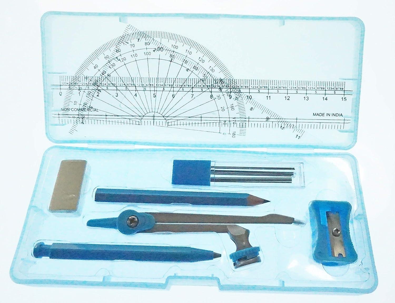 Caja Azul Escuadra Perfecto para Uso Escolar L/ápiz Partituki Set de Geometr/ía de 9 Piezas Regla Sacapuntas y Goma Portaminas Comp/ás