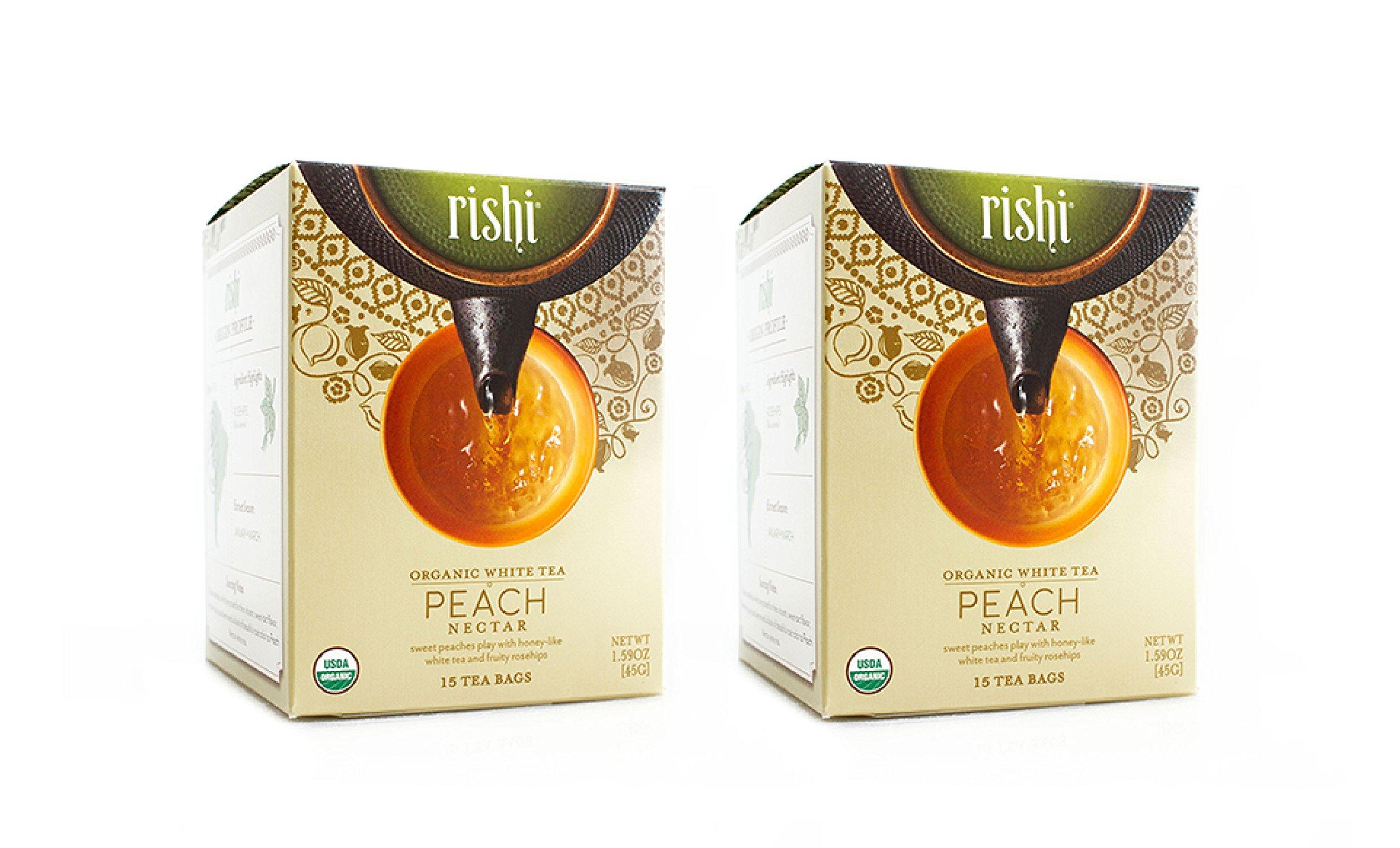 Rishi Peach Nectar Tea, Organic White Tea Sachet Bags, 15 Count (Pack of 2)