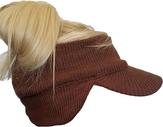 Winter Visor Headband Ponytail Beanie Double Layer Knit Open Visor Brim Ear Flap Hat