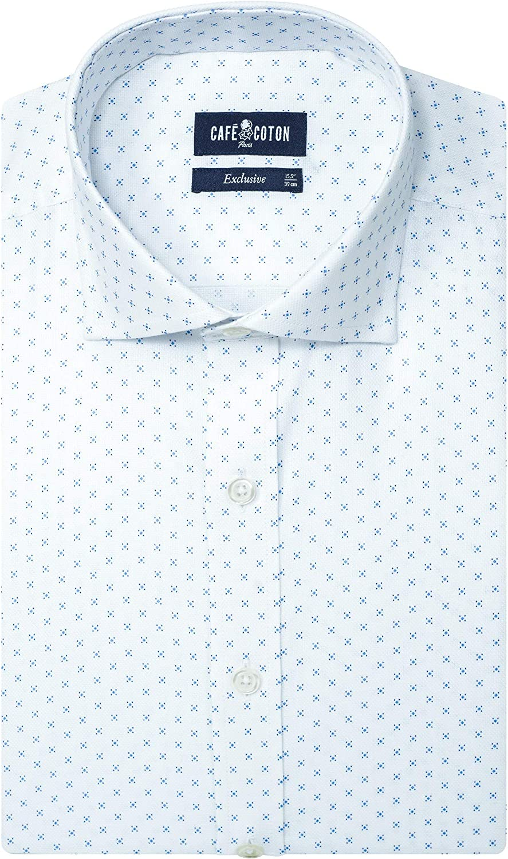 Cafe Coton Mens 80 Threacount Slim-Fit Spread Collar Barrel Cuff Egyptian Cotton Shirt
