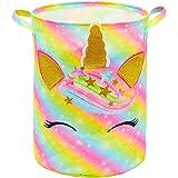FIOBEE Unicorn Laundry Basket Rainbow Storage Bins Waterproof Nursery Hamper Canvas Toy Organizer for Kids Girls Bedroom Clot