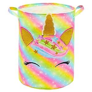 FIOBEE Unicorn Laundry Basket Rainbow Storage Bins Waterproof Nursery Hamper Canvas Toy Organizer for Kids Girls Bedroom Clothes