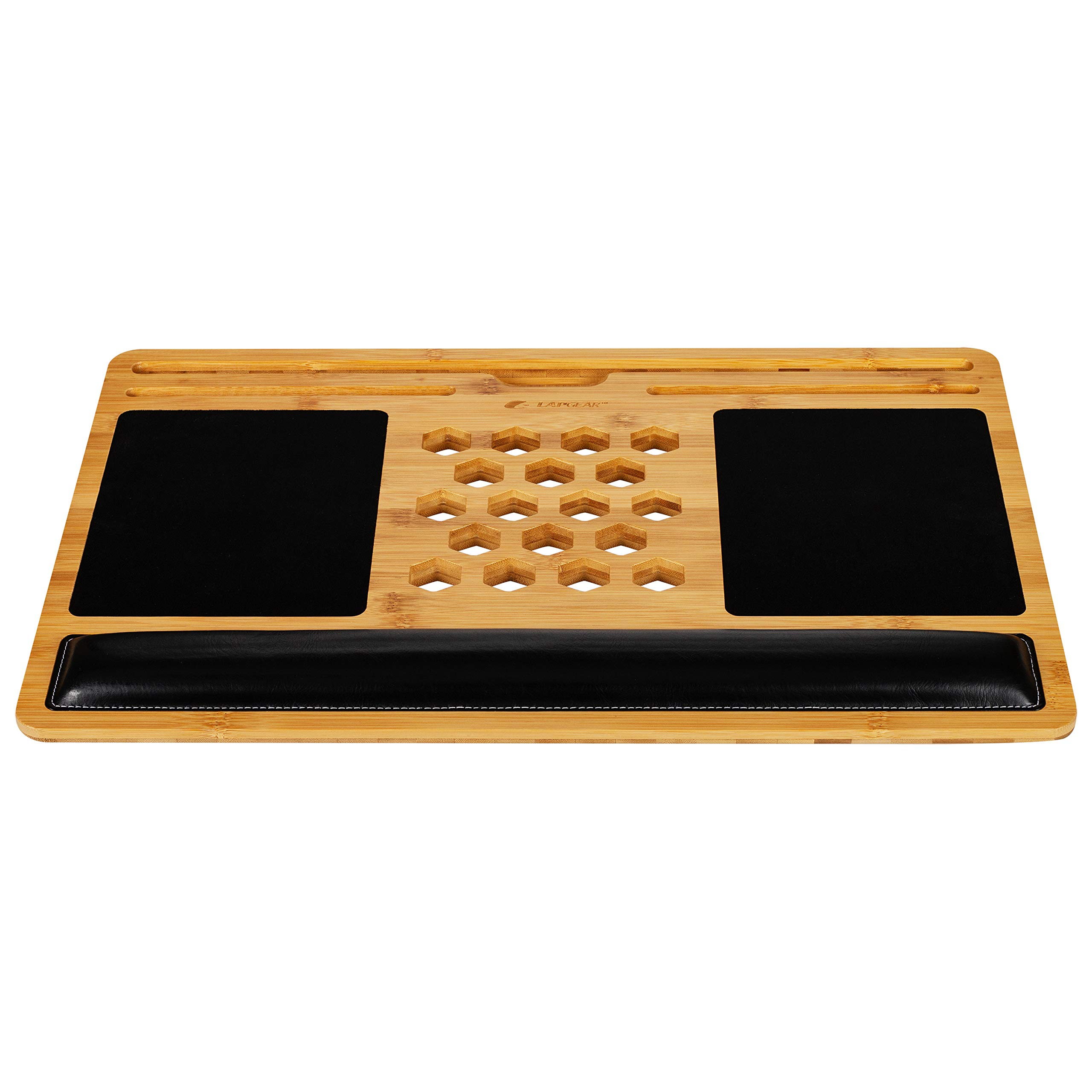 LapGear Bamboard Pro Lap Desk with Wrist Rest, Mouse Pads, and Phone Holder - Fits Up to 17.3 Inch Laptops and Most Tablet Devices - Style No. 77101 by LapGear (Image #3)