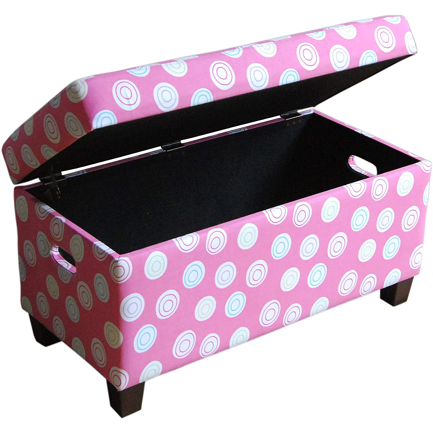 Storage bench entryway furniture upholstered cushion top foam padding pink wooden frame cut out handles patterned fabric bundle with our expert