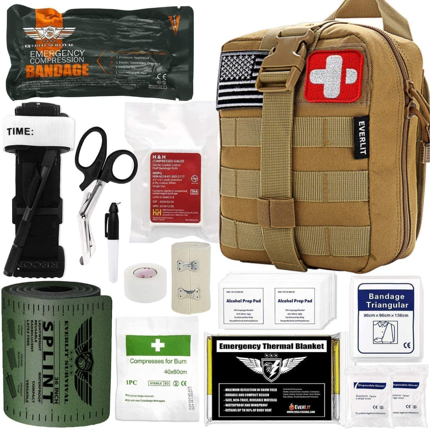 Everlit Emergency Trauma Kit, Multi-Purpose SOS Everyday Carry IFAK for Wilderness, Trip, Cars, Hiking, Camping, Father's Day Birthday Graduation Gift for Him Men Husband Dad Boyfriend and More (Tan): Health & Personal Care