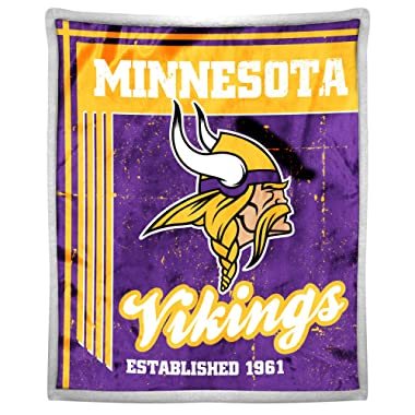 Northwest The Company Officially Licensed NFL Old School Mink Sherpa Throw Blanket, 50  x 60