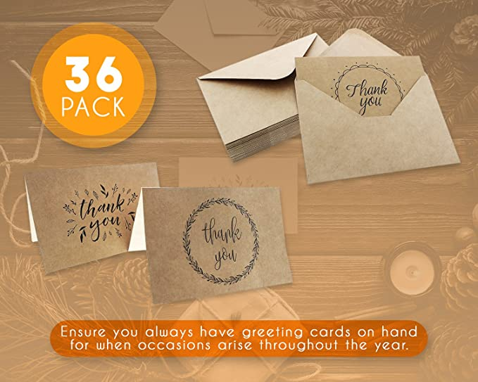 Thank You Cards 36 Count Thank You Notes Kraft Paper Bulk Thank You Cards Set Blank On The Inside Handwritten Style Includes Thank You Cards