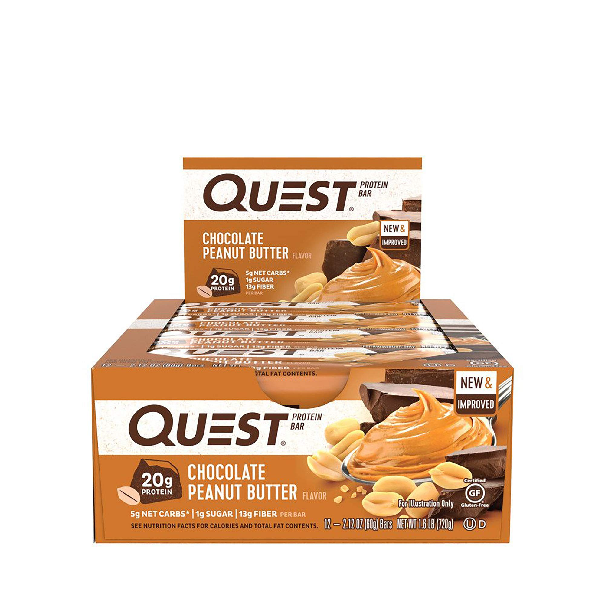 Quest Nutrition Protein Bar PB Cookie Mix-Up (Cookies + Cream and Chocolate Peanut Butter). Low Carb Meal Replacement Bar w/ 20g+ Protein. High Fiber, Soy-Free, Gluten-Free (24 Count) by Quest Nutrition (Image #3)