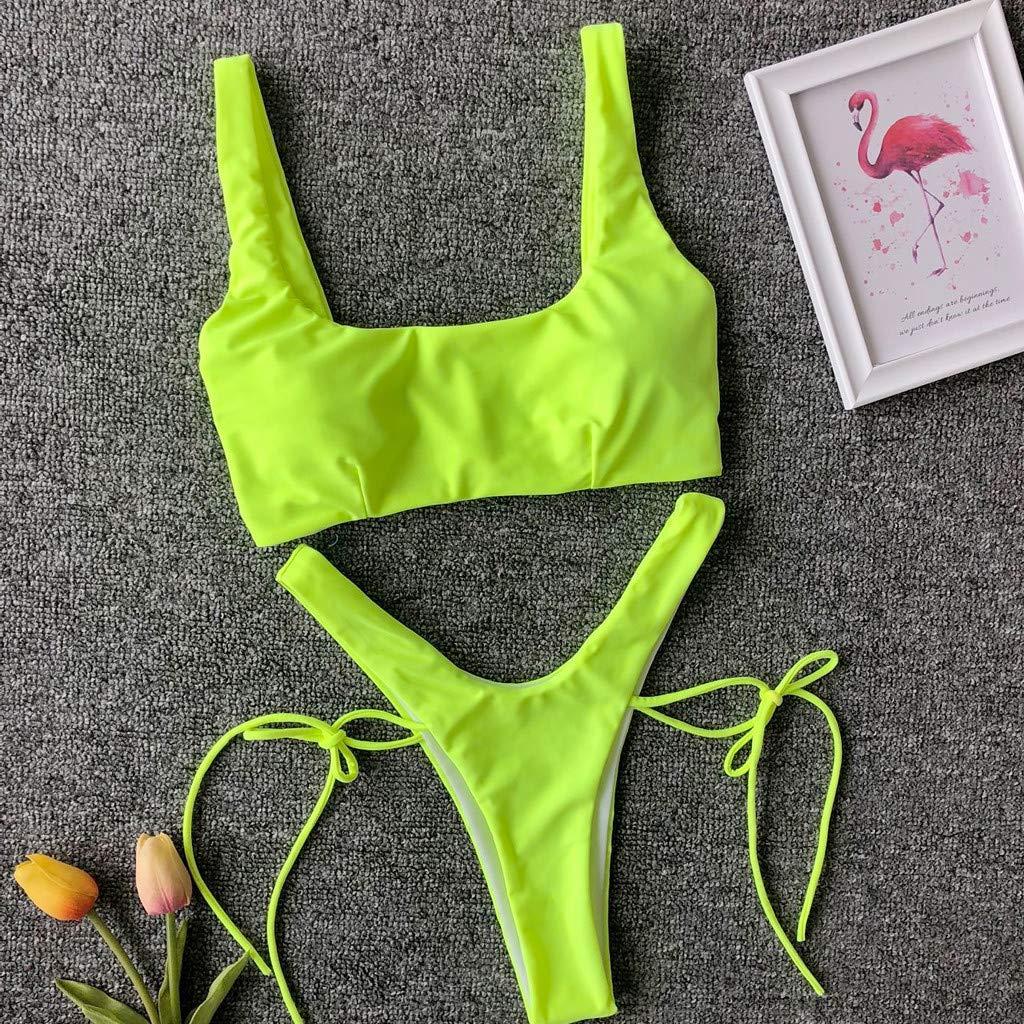 08d7505c361ff Amazon.com: KFSO Swimwear Womens Swimsuits 2 Pcs Brazilian Top Thong Bikini  Set High Waisted Bathing Suits for Women: Home & Kitchen