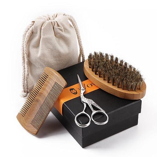 WOWAX Beard Grooming Kit for Men, Sandalwood Comb, Boar Bristle Beard Brush and Hair Scissors[ Valentine's Day Gift for Men]