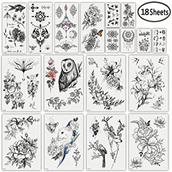 0a98b5a69 Amazon.com : DaLin Sexy Floral Temporary Tattoos for Women Men Black Rose  Flowers Collection : Beauty