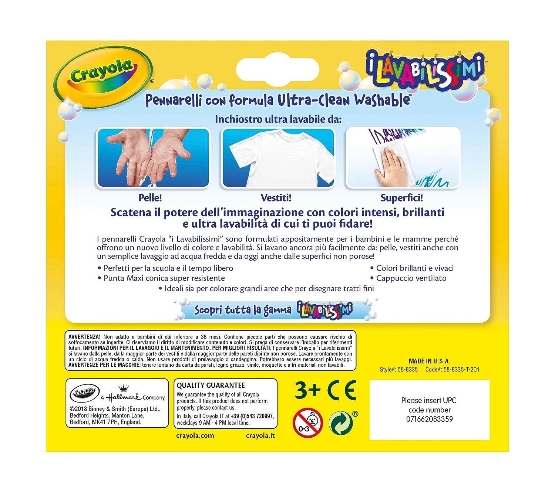 58-8331 CRAYOLA-I Lavabilissimi Pennarelli Ultra-Lavabili Punta Fine per Scuola e Tempo Libero Colori Assortiti 12 Pezzi