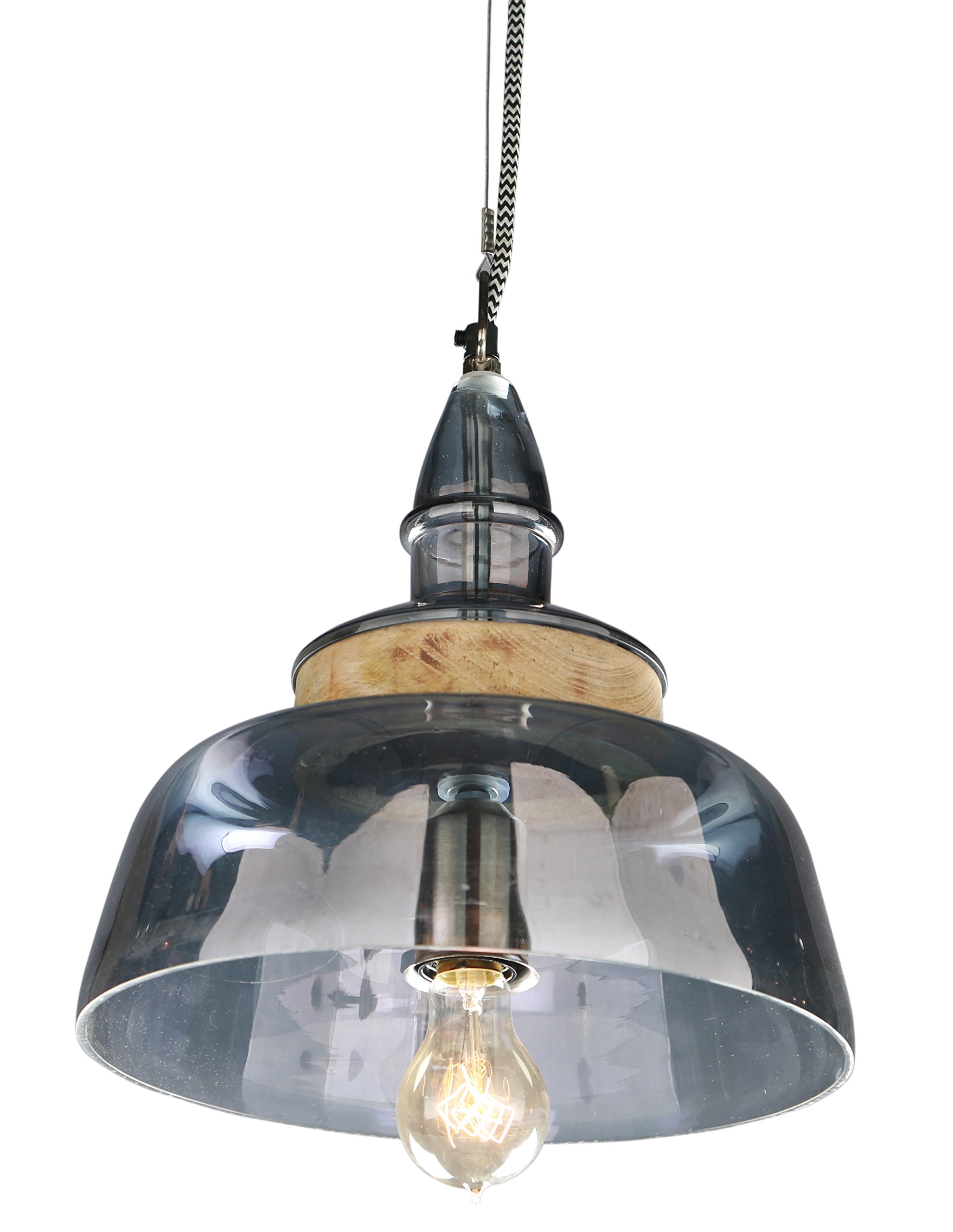 Large hanging lamp SPECTRUM in smoky glass with a wood accent top. Black&White Woven Chain.