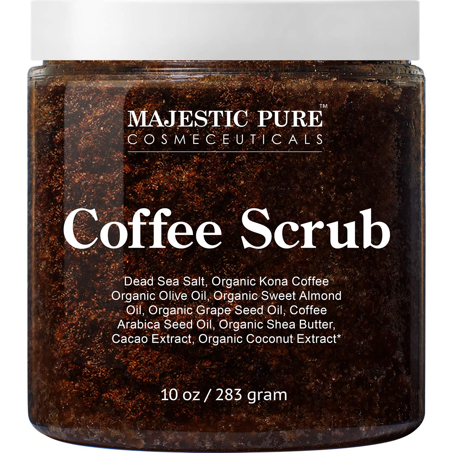 Majestic Pure Arabica Coffee Scrub - All Natural Body Scrub for Skin Care, Stretch Marks, Acne & Cellulite, Reduce the Look of Spider Veins, Eczema, Age Spots & Varicose Veins - 10 Ounces by Majestic Pure