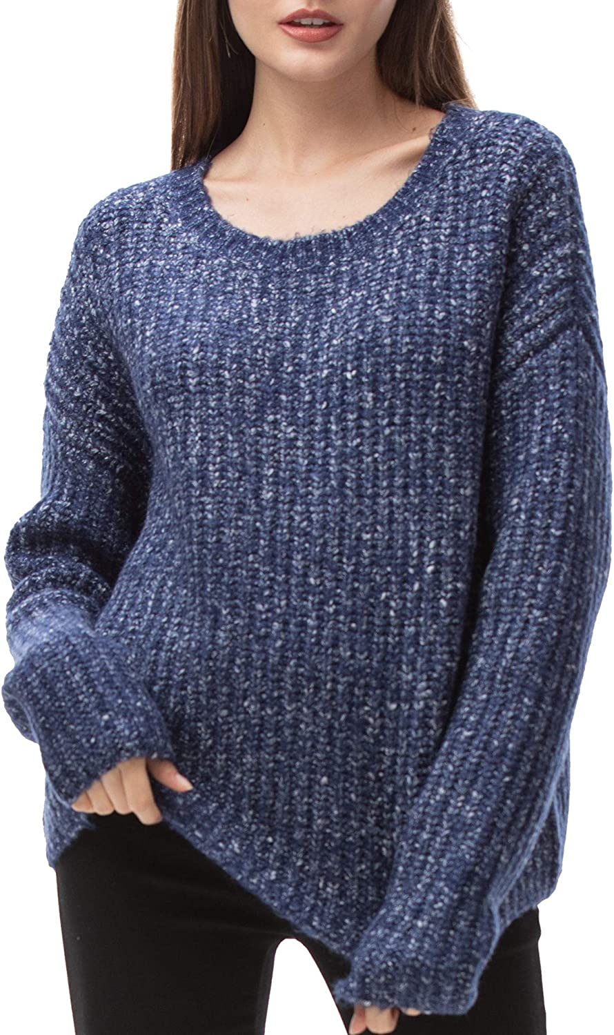 Woolen Bloom Women's Oversized Sweater Long Sleeve Crewneck Loose Fitting Cable Knit Pullover Chunky Warm Winter Tops