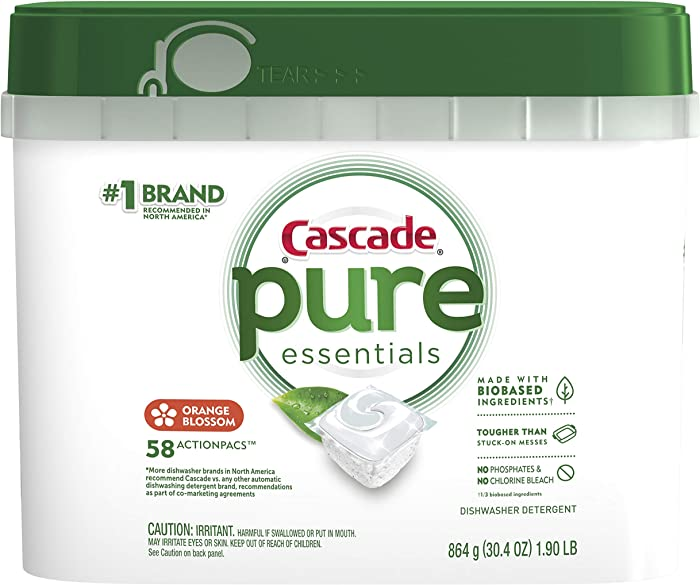 Cascade Pure Essentials Actionpacs Dishwasher Detergent, Orange Blossom, 58 Count