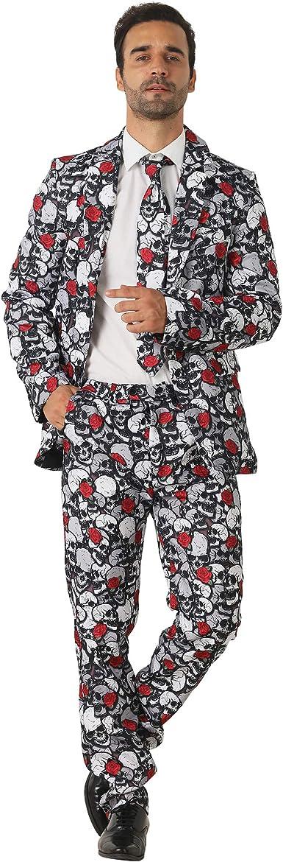 EraSpooky Rosa y Cráneo Trajes para Hombres Viene con Pantalones ...