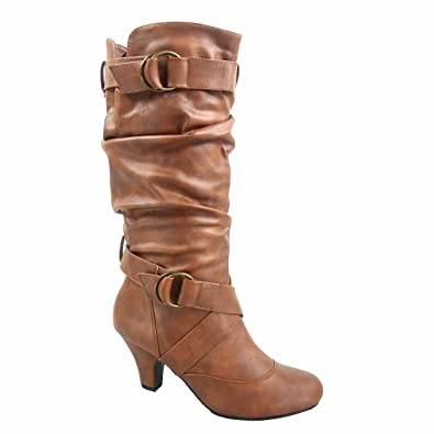 Maggie-39 Women's Fashion Low Heel Zipper Slouchy Mid-Calf Boots Shoes