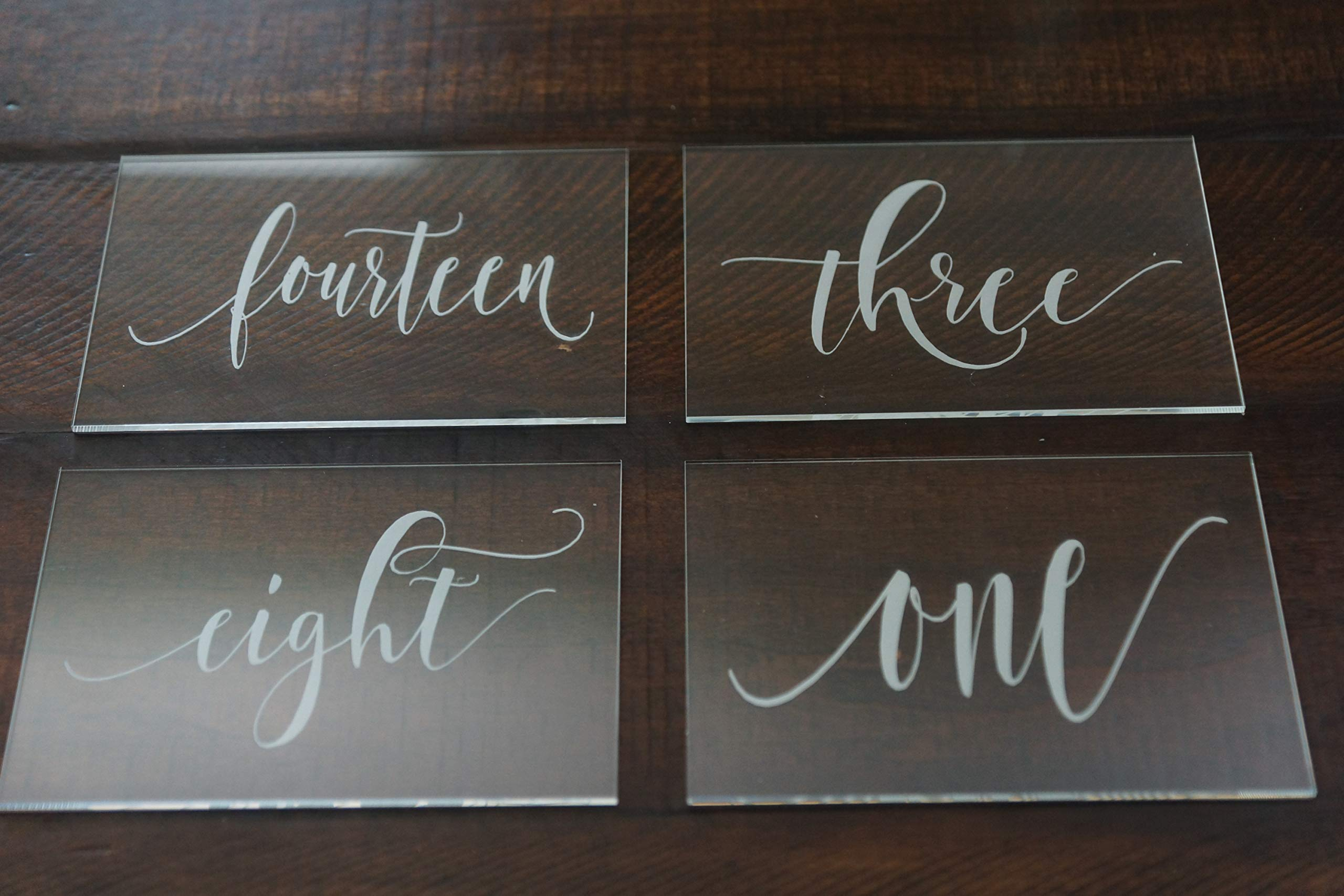 Set of 20 Acrylic Calligraphy Table Numbers   Wedding Event Shower Reception Restaurant   Glass like Clear Modern Formal Elegant Vintage Rustic   Sign Placard Card   Lettering Script Handwriting Print by Generic (Image #5)