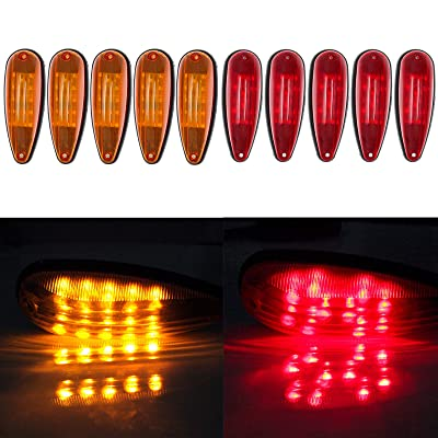 ECCPP 5 Red 5 Amber Tear Drop LED Marker Light 20-leds: Automotive