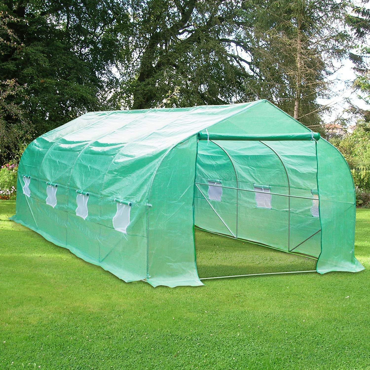 Green House,Walk-in Plant Hot House for Outdoors,20'x10'x7' Large Heavy Duty Portable Greenhouse,Galvanized Steel Frame Tunnel Garden with Zipper Door and 8 Roll-Up Windows,Gardening Tent
