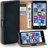 Pochette OneFlow pour Nokia Lumia 1520 housse Cover avec fentes pour cartes | Flip Case étui housse téléphone portable à rabat | Pochette téléphone portable étui de protection accessoires téléphone portable protection bumper en DEEP-BLACK