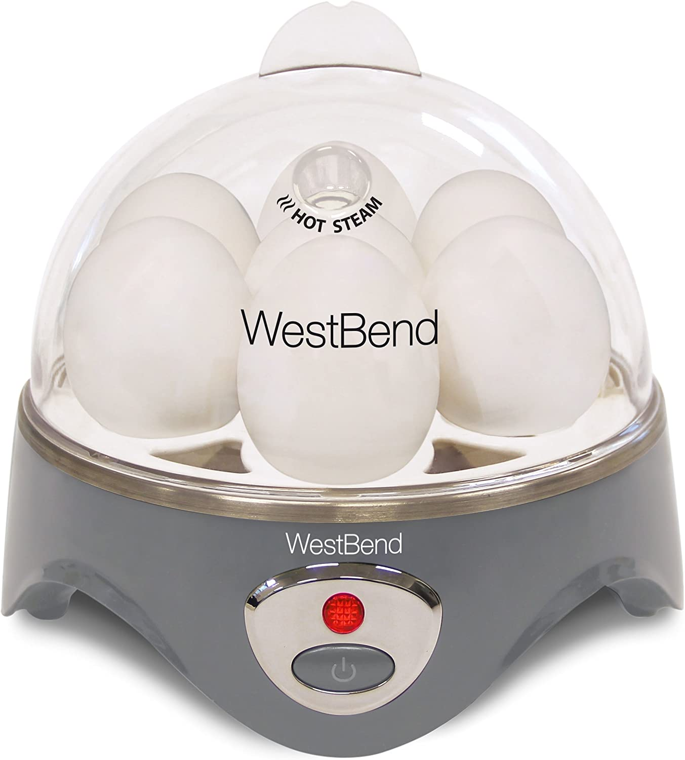 West Bend Automatic Electric Cooker Hard-or Soft-Cook 7 Eggs or 2 Poached or Scrambled, 360-Watt, Gray